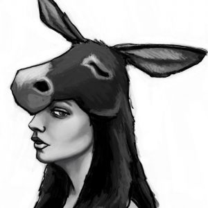 donkey skin, original art, digital art, black and white, drawing