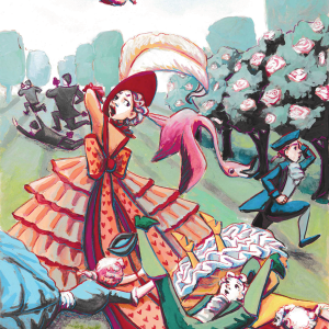 queen of hearts, alice in wonderland, gouache painting, children's illustration